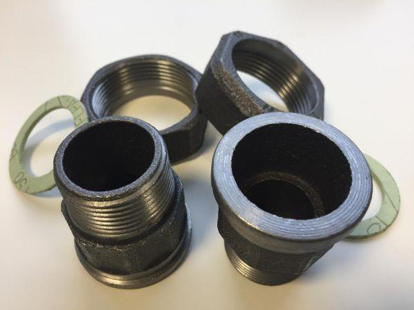 Pumpenverschraubung Satz Rp 1 1/4'' AG x 2'' ÜW Aussengewinde schwarz mit Dichtungen PV32A - Bild 1