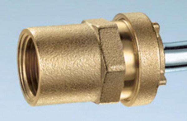 Pushfitting vormontiert 1/2'' x 16 mm Kupplung mit Innengewinde Messing RC1091516 - Bild 1