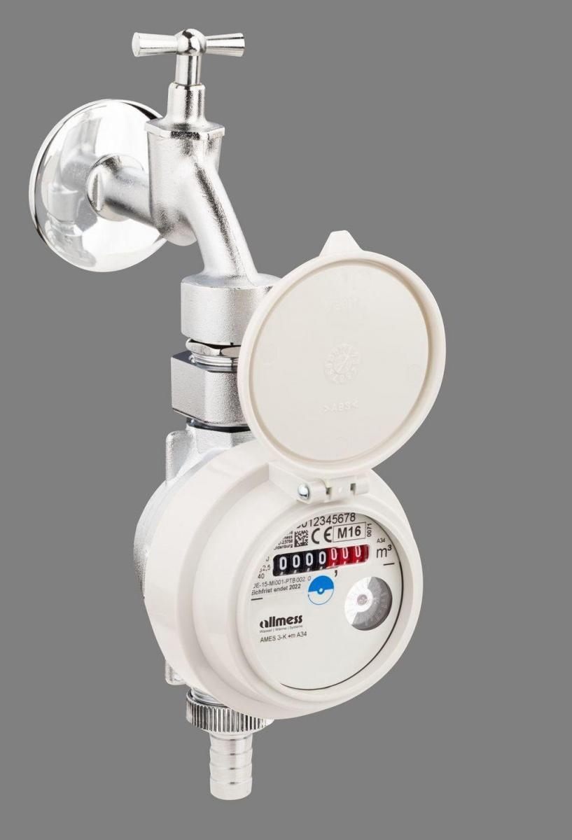 Eichgebühr m MID Q3 2,5 cbm Kaltwasser inkl Allmess Waschtischzähler WTZ 3-V-K
