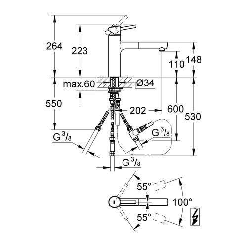 grohe einhand sp ltischbatterie concetto niederdruck chrom. Black Bedroom Furniture Sets. Home Design Ideas